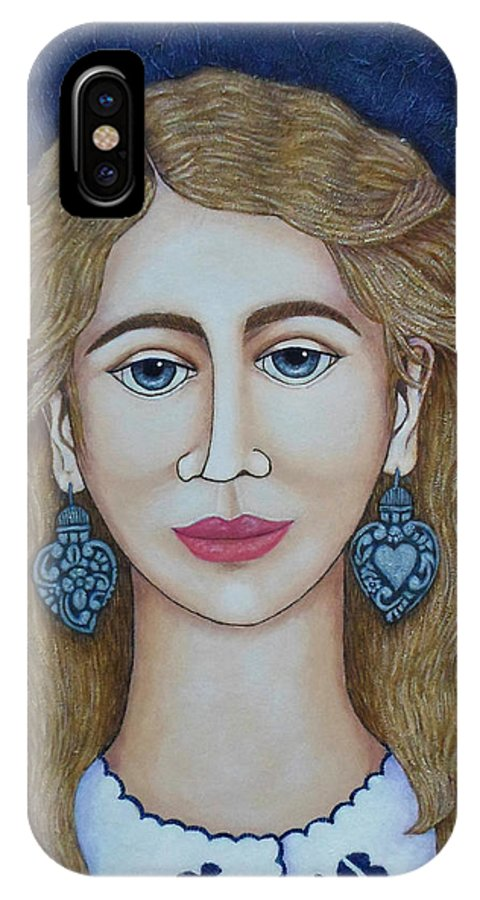 Woman IPhone Case featuring the painting Woman With Silver Earrings by Madalena Lobao-Tello