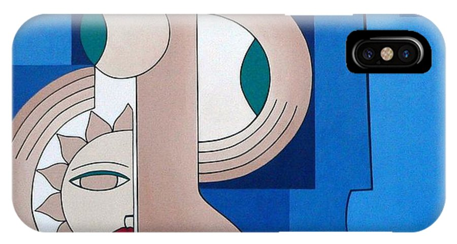 Women Bips Bleu Modern IPhone Case featuring the painting Women And Questions by Hildegarde Handsaeme