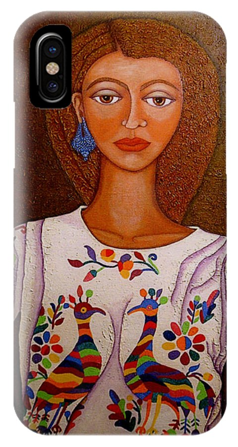 Woman IPhone X Case featuring the painting Women Below And Beyond The Sea by Madalena Lobao-Tello