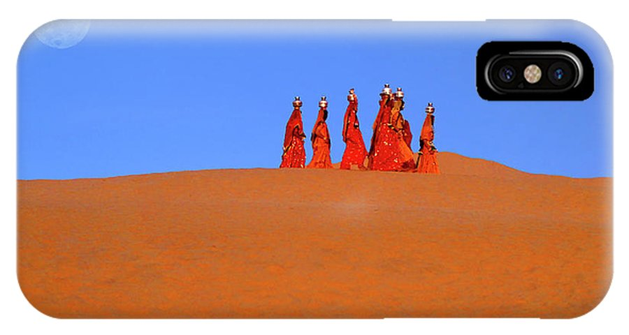 India IPhone X Case featuring the photograph Women Carrying Water In The Thar Desert - Rajasthan, India. by Ulysse Pixel