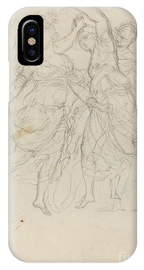 IPhone X Case featuring the drawing Women Dancing by Pietro Fancelli
