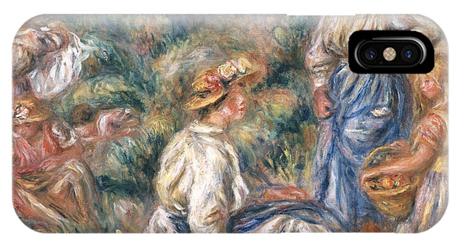 Women IPhone X Case featuring the painting Women In A Landscape by Renoir