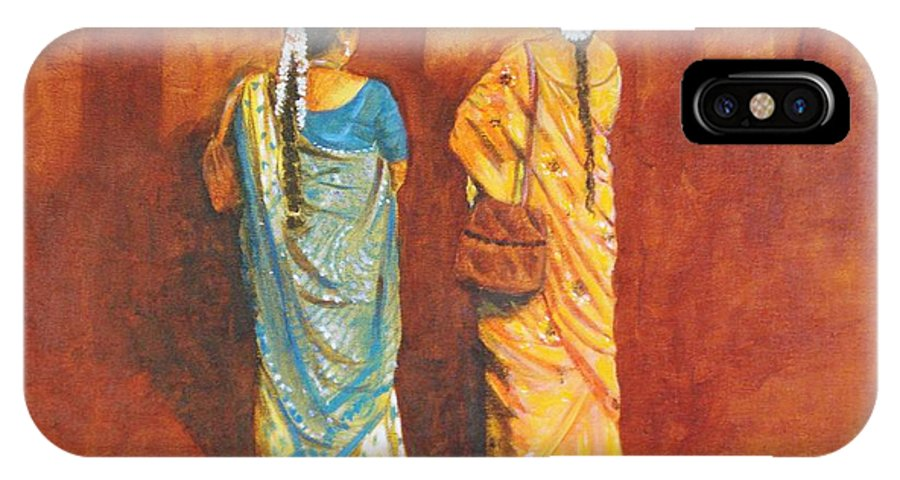 Women IPhone X Case featuring the painting Women in sarees by Usha Shantharam