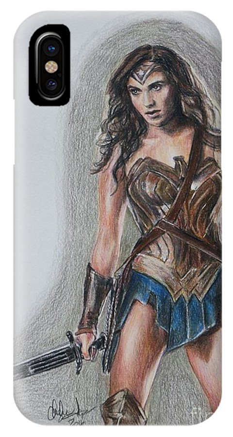 Wonder Woman IPhone X Case featuring the drawing Wonder Woman by Christine Jepsen