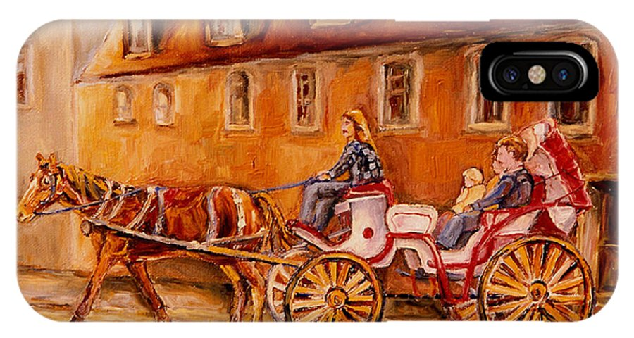 Quebec City IPhone X Case featuring the painting Wonderful Carriage Ride by Carole Spandau