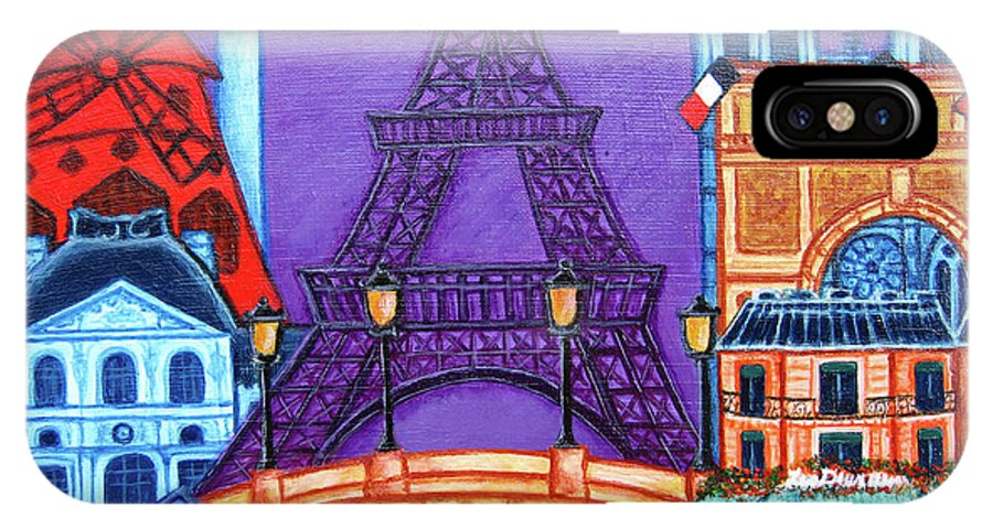 Paris IPhone X Case featuring the painting Wonders of Paris II by Lisa Lorenz