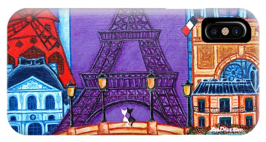 Paris IPhone X Case featuring the painting Wonders of Paris by Lisa Lorenz