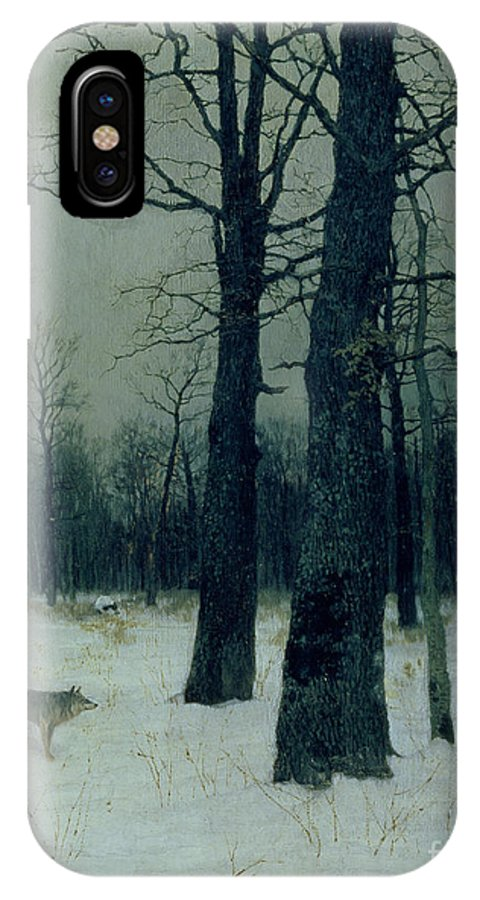 Wood IPhone X Case featuring the painting Wood In Winter by Isaak Ilyic Levitan