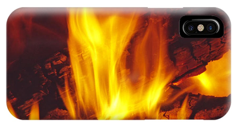 Fire IPhone Case featuring the photograph Wood Stove - Blazing Log Fire by Steve Ohlsen