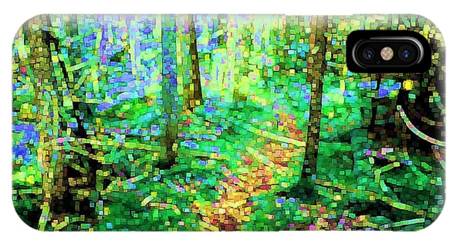 Nature IPhone X Case featuring the digital art Wooded Trail by Dave Martsolf