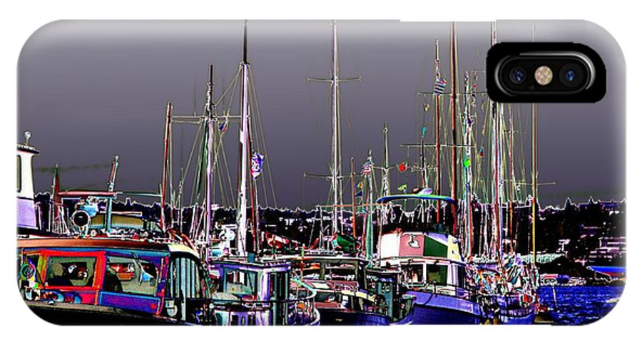 Seattle IPhone X Case featuring the digital art Wooden Boats 2 by Tim Allen