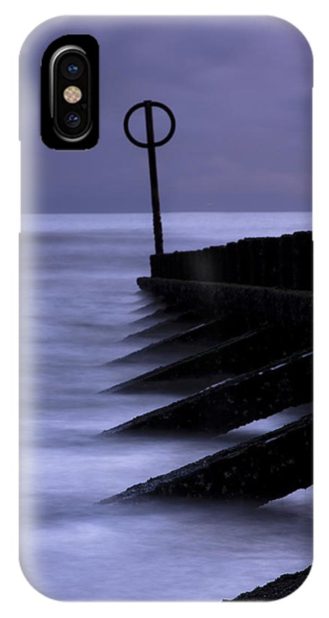 Beach IPhone X Case featuring the photograph Wooden Groynes Of Aberdeen Scotland by Gabor Pozsgai