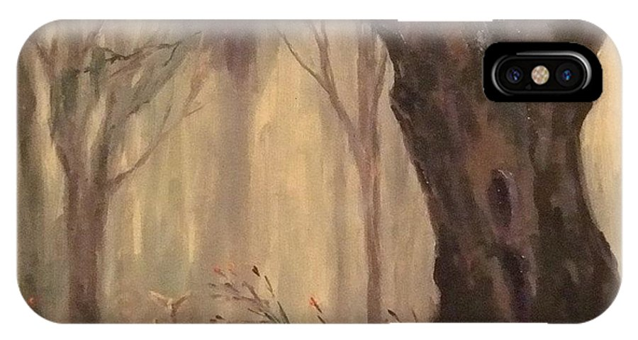 Landscape IPhone Case featuring the painting Woodland Fawn by Ruth Stromswold