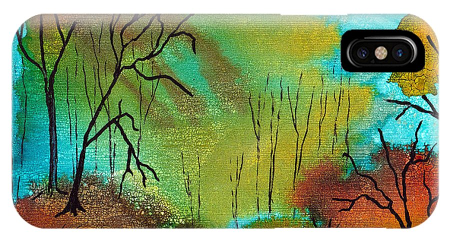 Woods IPhone X Case featuring the mixed media Woodland Path by Susan Kubes