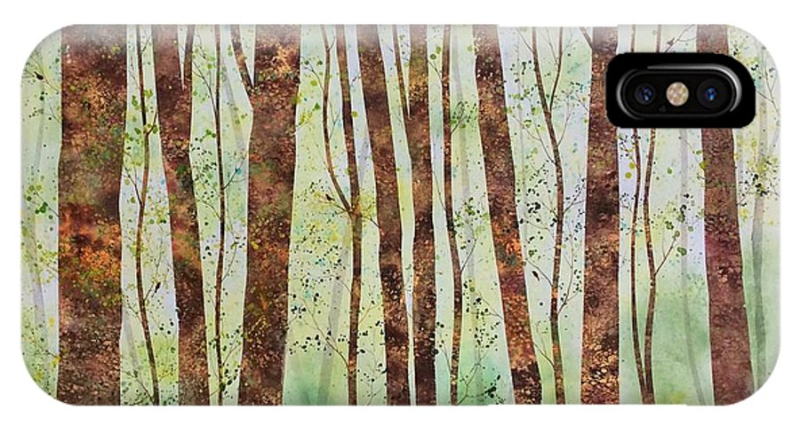 Trees IPhone X Case featuring the painting Woodland Spring by Megan Richard