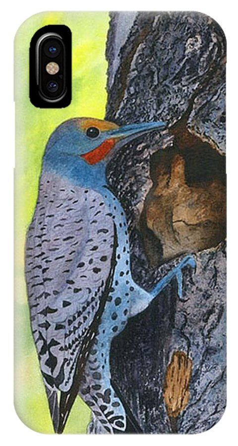 Woodpecker IPhone X Case featuring the painting Woodpecker by Sharon Farber