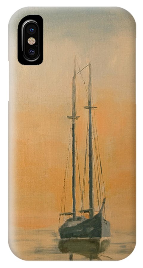 Boat IPhone X Case featuring the painting Work Boat At Rest by Christopher Jenkins