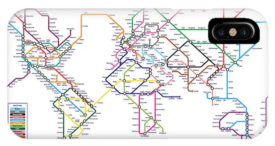 Subway Map Phone.World Metro Tube Subway Map Iphone X Case