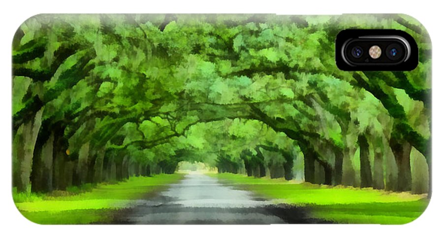 Oak IPhone X Case featuring the painting Wormsloe Plantation by Lynne Jenkins