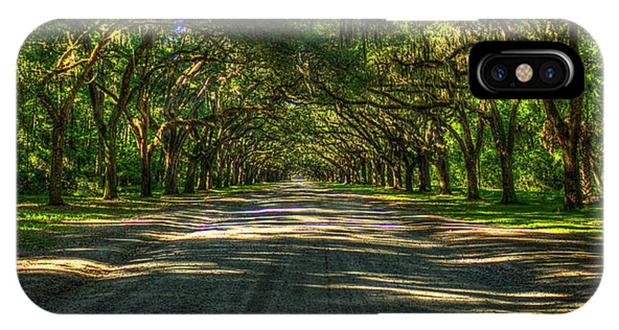 Reid Callaway Wormhole Plantation IPhone X Case featuring the photograph Shadows Of Wormsloe Plantation Oak Avenue Georgia Art by Reid Callaway