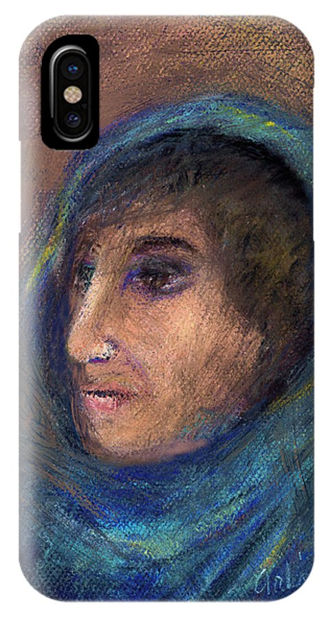 Woman IPhone X Case featuring the pastel Wrapped In A Shawl by Arline Wagner