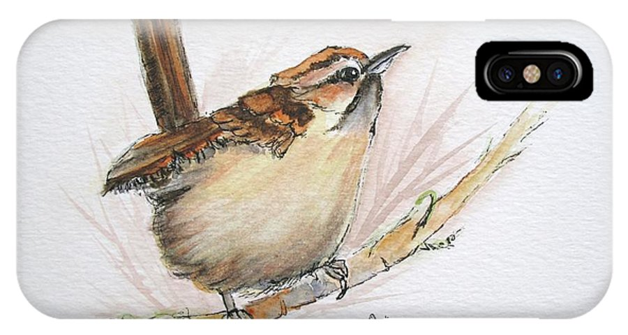 Songbird IPhone X Case featuring the painting Wren by Lisa Cini
