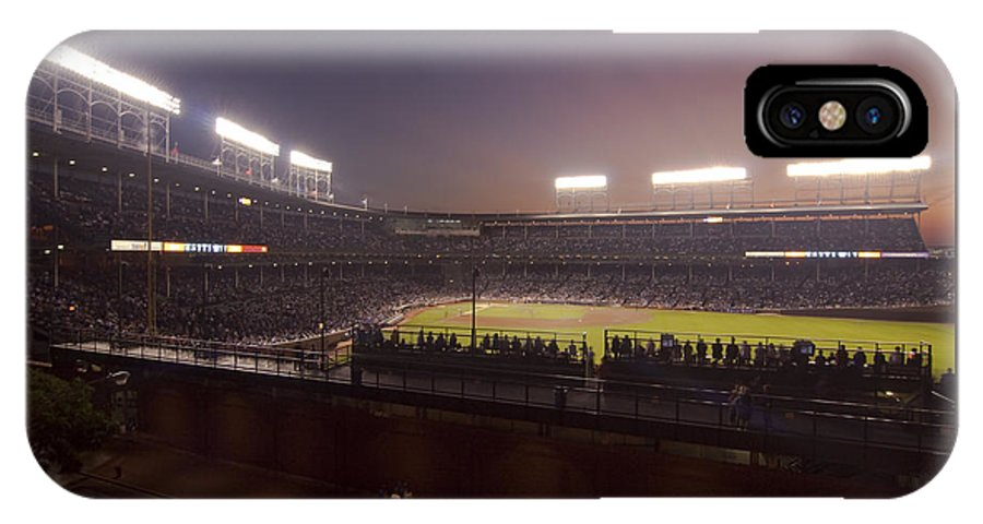 Cubs IPhone X Case featuring the photograph Wrigley Field At Dusk 2 by Sven Brogren