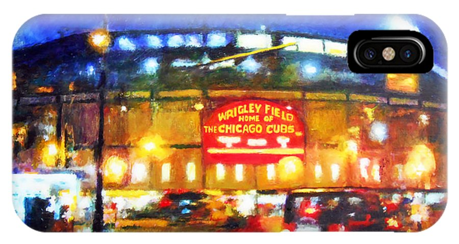 Chicago IPhone X / XS Case featuring the painting Wrigley Field Home Of Chicago Cubs by Michael Durst