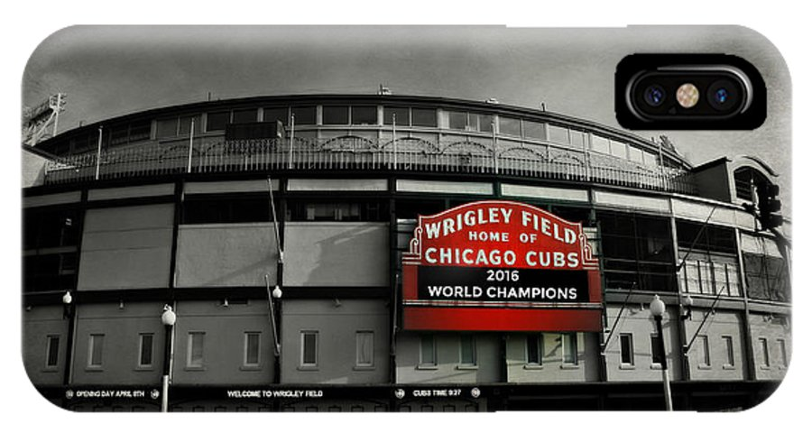 Cubs IPhone X Case featuring the photograph Wrigley Field by Stephen Stookey