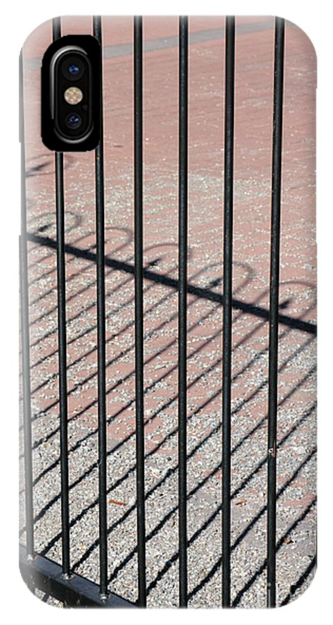Gate IPhone X / XS Case featuring the photograph Wrought-iron Gate And Shadows by William Kuta