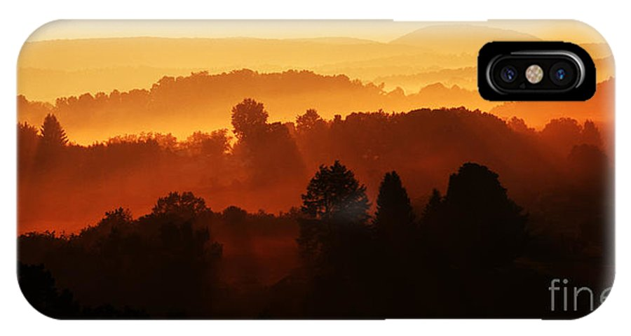 Sunrise IPhone X / XS Case featuring the photograph Wv Misty Mountain Sunrise Mirror Image by Thomas R Fletcher