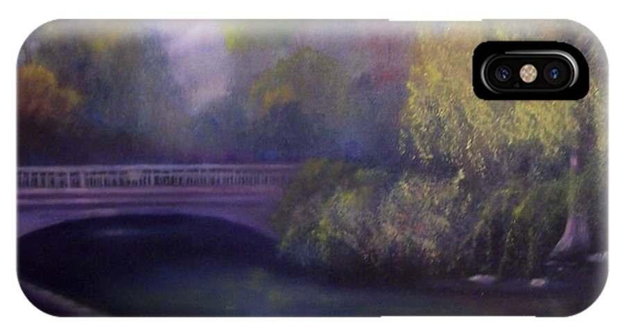 Bridge IPhone X Case featuring the painting Wyomissing Creek Misty Morning by Marlene Book