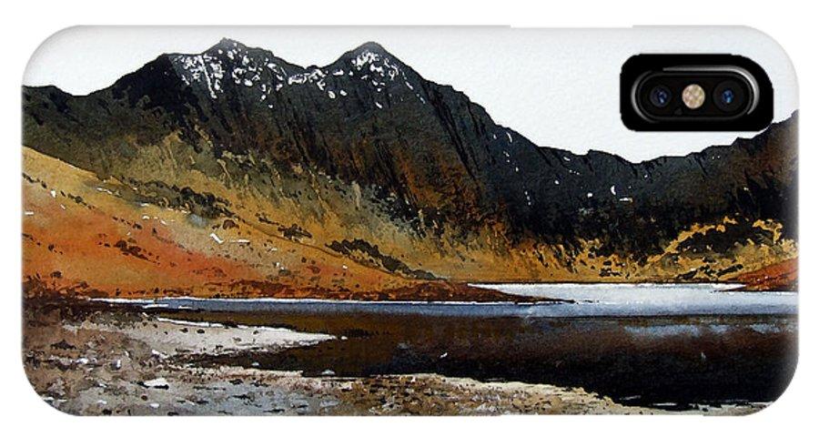Watercolour IPhone Case featuring the painting Y Lliwedd Ridge From Lake Llyn Llydaw by Paul Dene Marlor