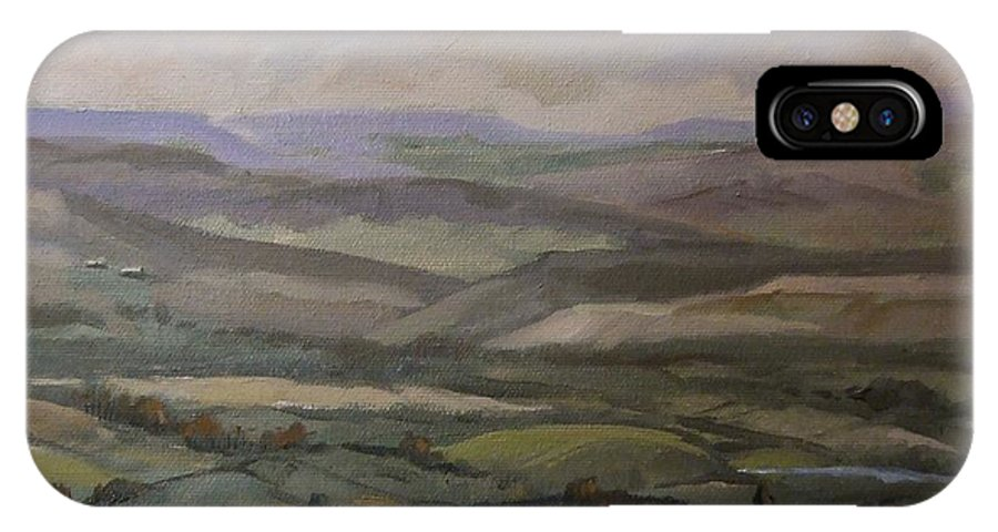 Landscape Water Trees Sky Hills IPhone X Case featuring the painting Yakima Vista by Ruth Stromswold