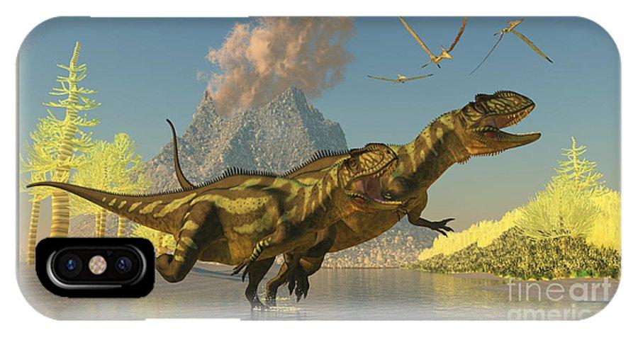 Yangchuanosaurus IPhone X Case featuring the painting Yangchuanosaurus Dinosaurs by Corey Ford
