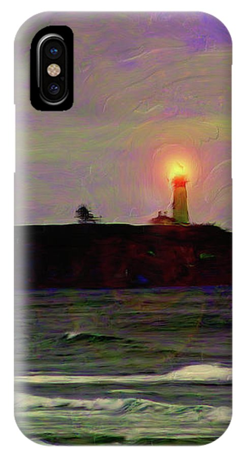 Yaquina Head Lighthouse IPhone X Case featuring the painting Yaquina Head Lighthouse by Methune Hively