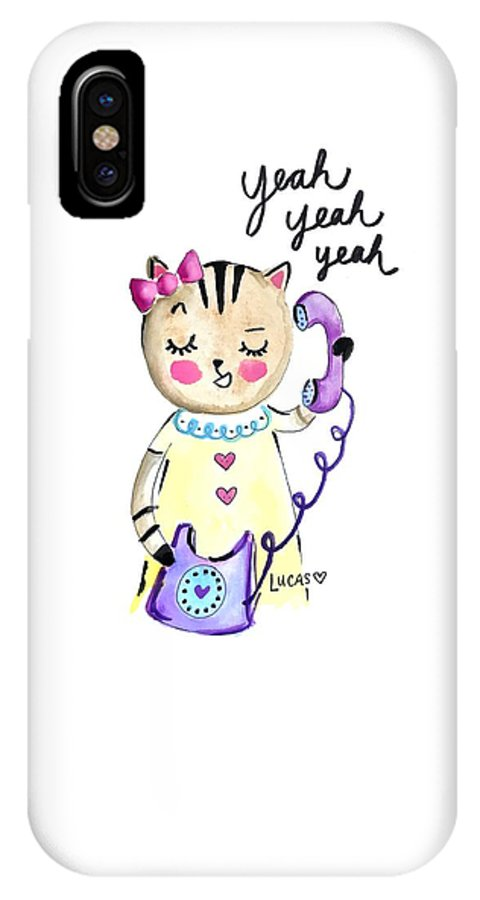 Cat IPhone Case featuring the painting Yeah Yeah Yeah by Ashley Lucas