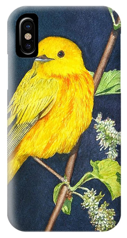 Bird IPhone X Case featuring the painting Yelllow Warbler by Sharon Farber