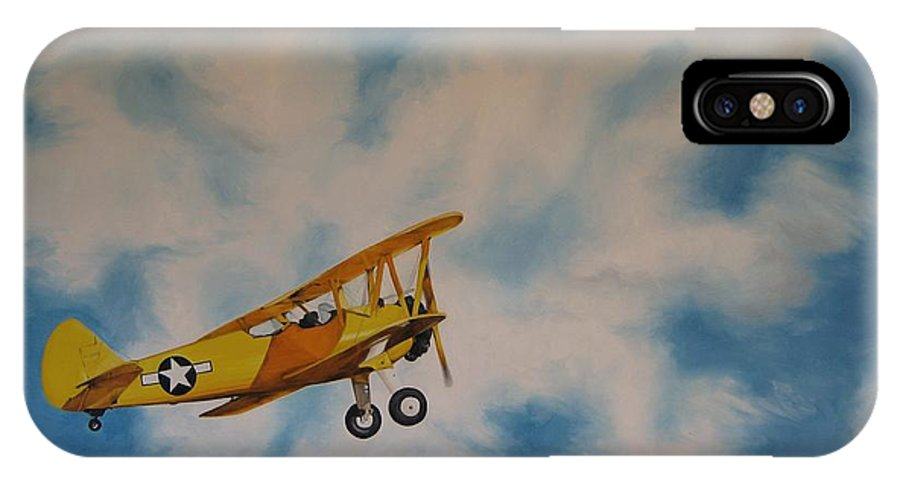 Noewi IPhone X Case featuring the painting Yellow Airplane by Jindra Noewi