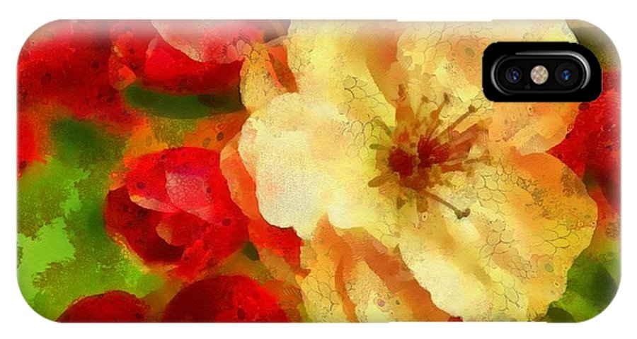 Yellow And Red Floral Delight IPhone X Case featuring the painting Yellow And Red Floral Delight by Catherine Lott