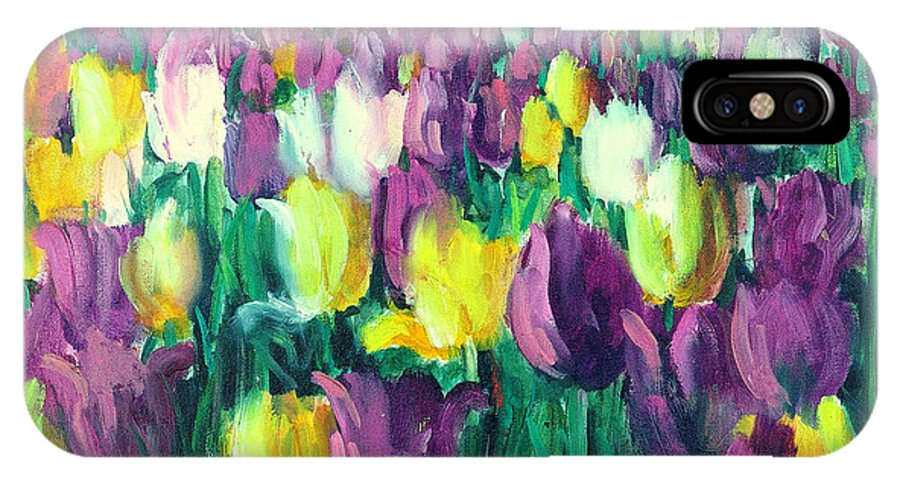 Flowers IPhone Case featuring the painting Yellow And Violet Tulips by Sally Seago