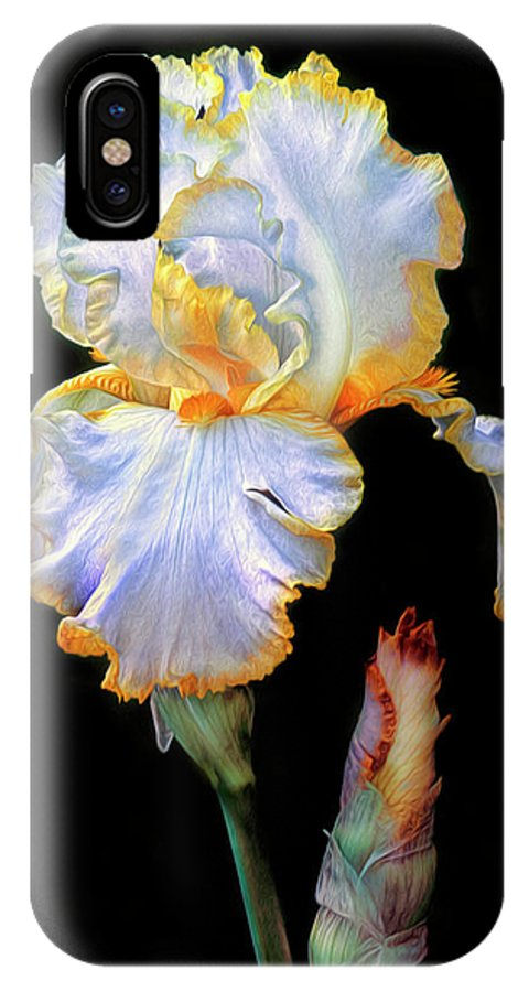 Iris IPhone X Case featuring the photograph Yellow And White Iris by Dave Mills