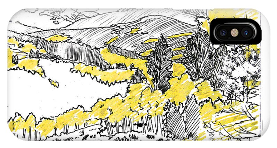 Yellow Aspens IPhone X Case featuring the drawing Yellow Aspens Colorado Mountains by John Lautermilch