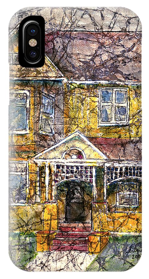 House IPhone X Case featuring the mixed media Yellow Batik House by Arline Wagner