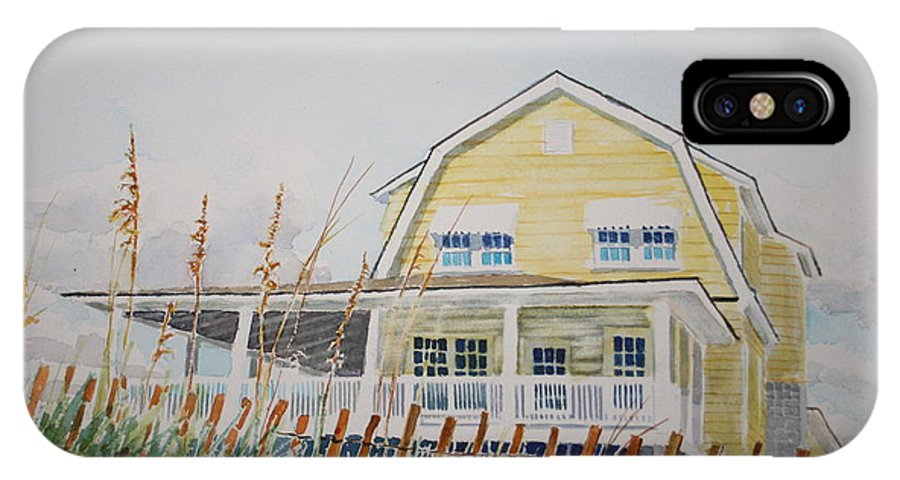 Beach IPhone X Case featuring the painting Yellow Beach House Wrightsville Beach by Tom Harris