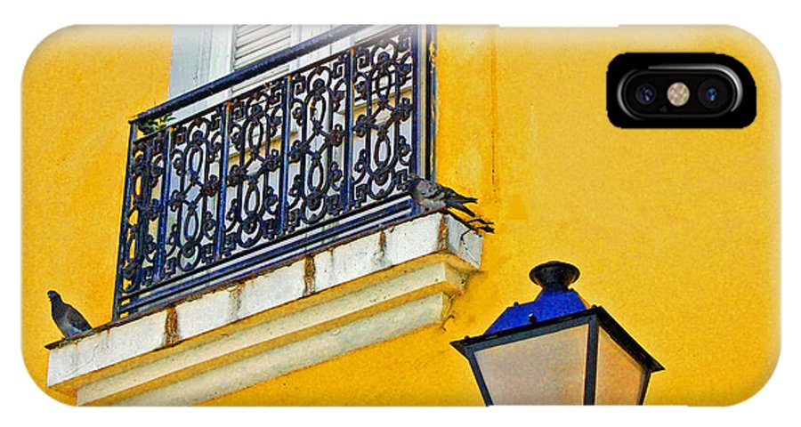 Pigeon IPhone X Case featuring the photograph Yellow Building by Debbi Granruth