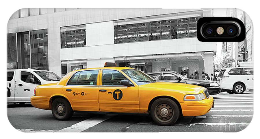 Street IPhone X / XS Case featuring the photograph Yellow Cab In Manhattan With Black And White Background by Antonio Gravante