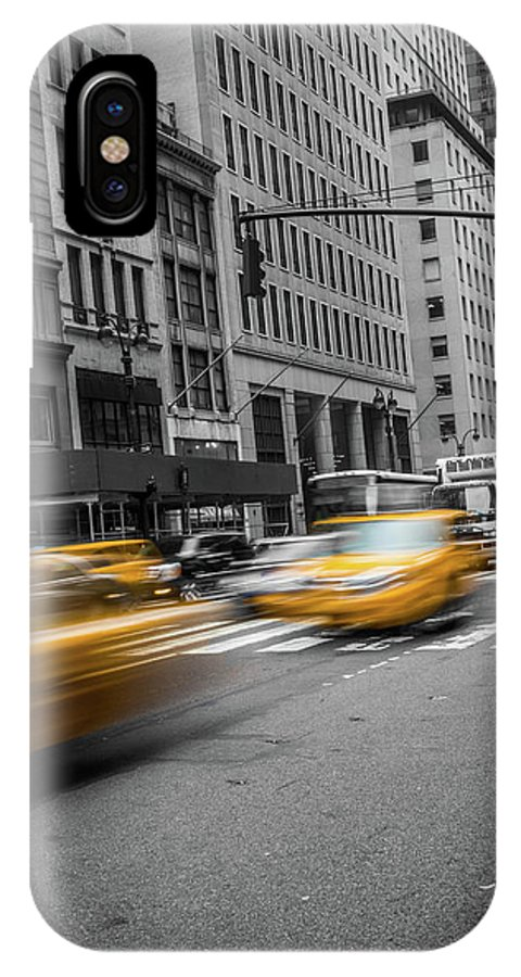 Big Apple IPhone X Case featuring the photograph Yellow Cab On Fifth Avenue, New York 5 by Art Calapatia