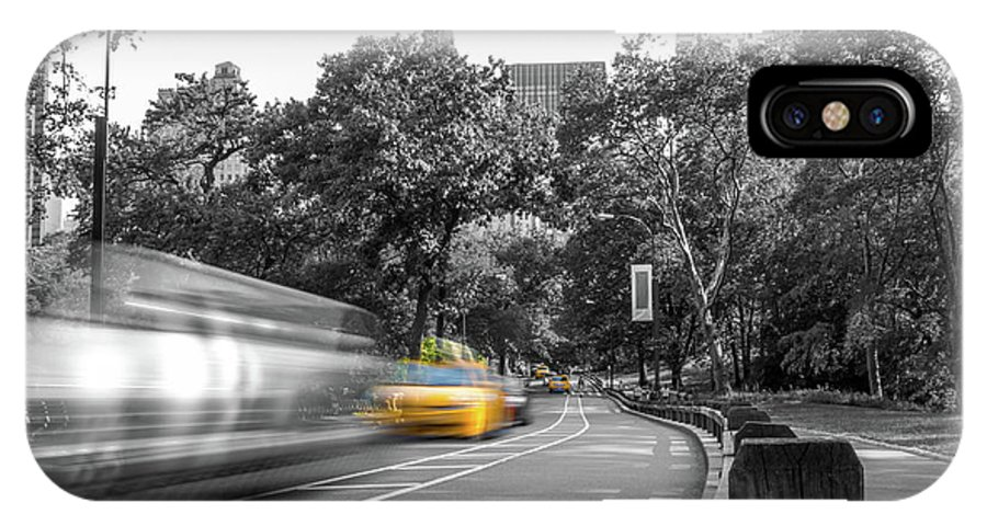 Big Apple IPhone X Case featuring the photograph Yellow Cabs In Central Park, New York 3 by Art Calapatia