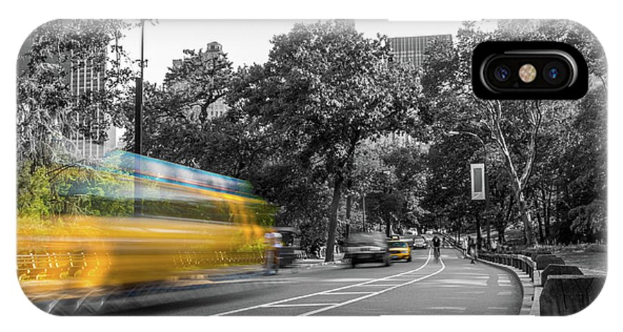 Big Apple IPhone X Case featuring the photograph Yellow Cabs In Central Park, New York 4 by Art Calapatia